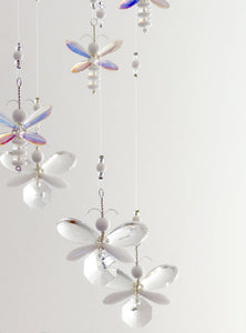 White Butterfly / Fairy / Angel Mobile (14 piece hoop)