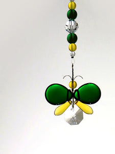 Dark Green & Golden Yellow Butterfly / Fairy Suncatcher