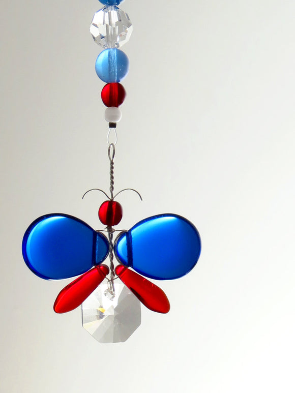 Red & Blue Butterfly Ornament Suncatcher