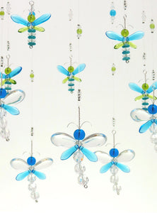 Cyan Blue & Green Dragonfly and Firefly Mobile (10 piece hoop)