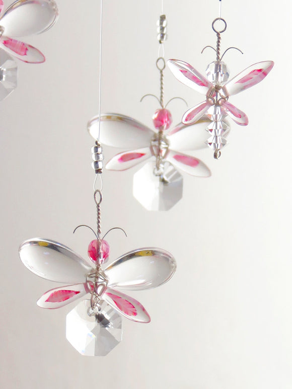 Pink Fairy / Butterfly Mobile Suncatcher (8 piece hoop)