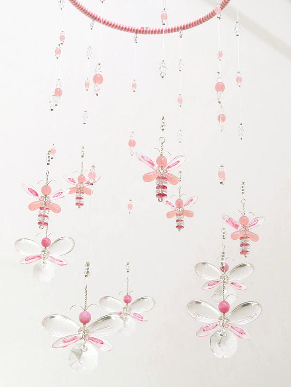 Medium: Pink Butterfly & Fairy Hanging Mobile Suncatcher