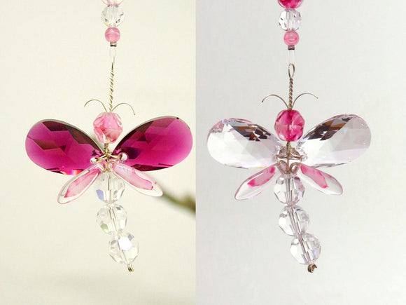 Pink Dragonfly Suncatcher Ornament