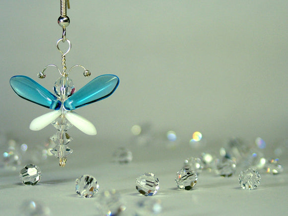 Cyan Blue & White Butterfly / Angel Earrings