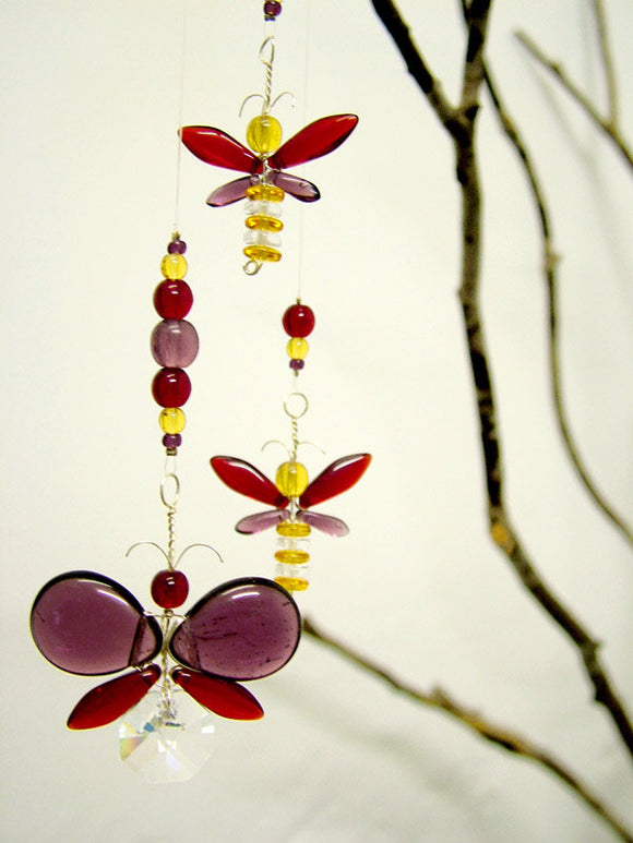 Purple & Red Butterfly & Fairy Mobile (4 piece)