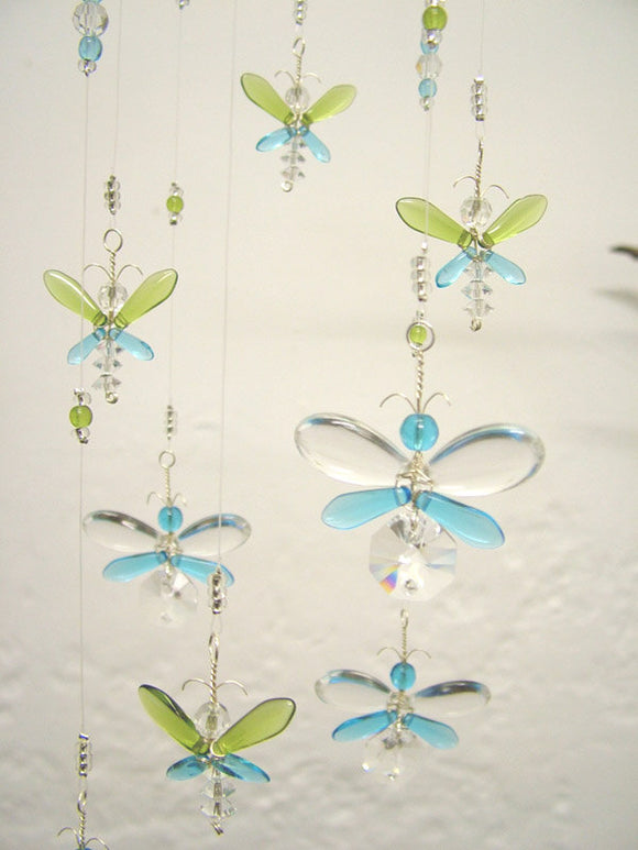Green & Cyan Blue Firefly & Fairy Mobile (8 piece hoop)
