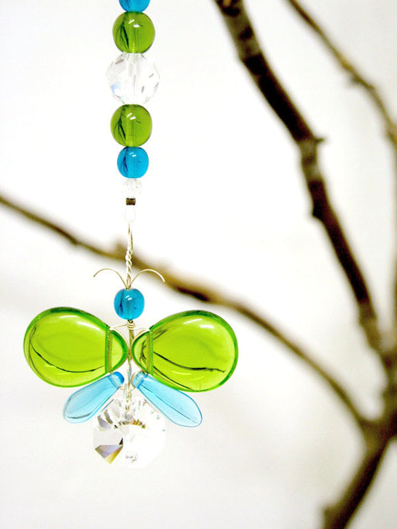 Green & Cyan Blue Butterfly Suncatcher