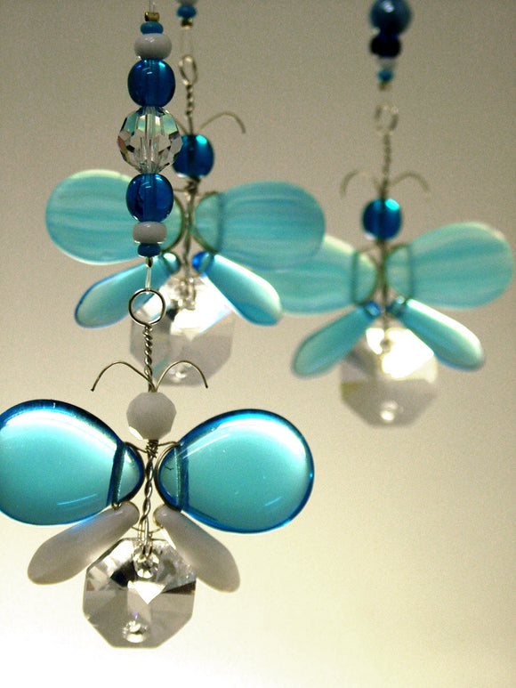 Cyan Blue Angel / Butterfly Mobile (3 piece)