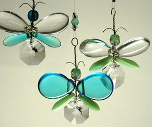 Cyan Blue & Aqua Butterfly Mobile (4 piece)