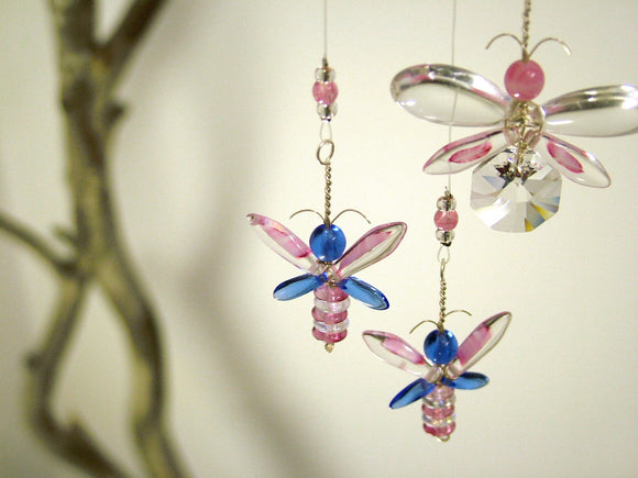 Pink & Blue Butterfly / Fairy Mobile (3 piece)