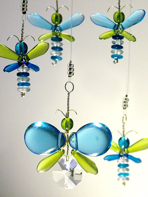 Cyan Blue & Green Butterfly & Dragonfly Mobile (6 piece)