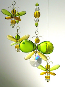 Green and Golden Yellow Butterfly & Firefly Mobile (6 piece)