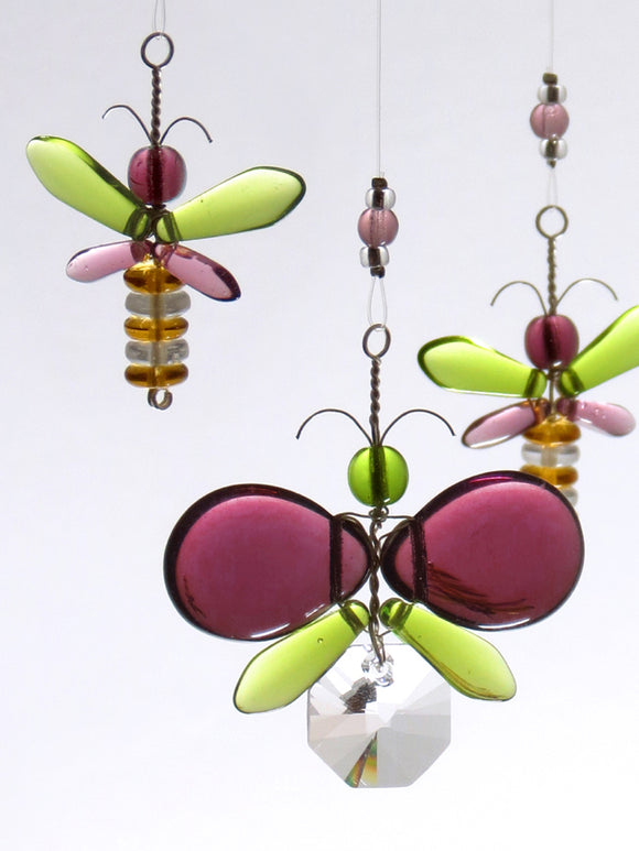 Purple & Green Butterfly / Fairy Mobile (4 piece)