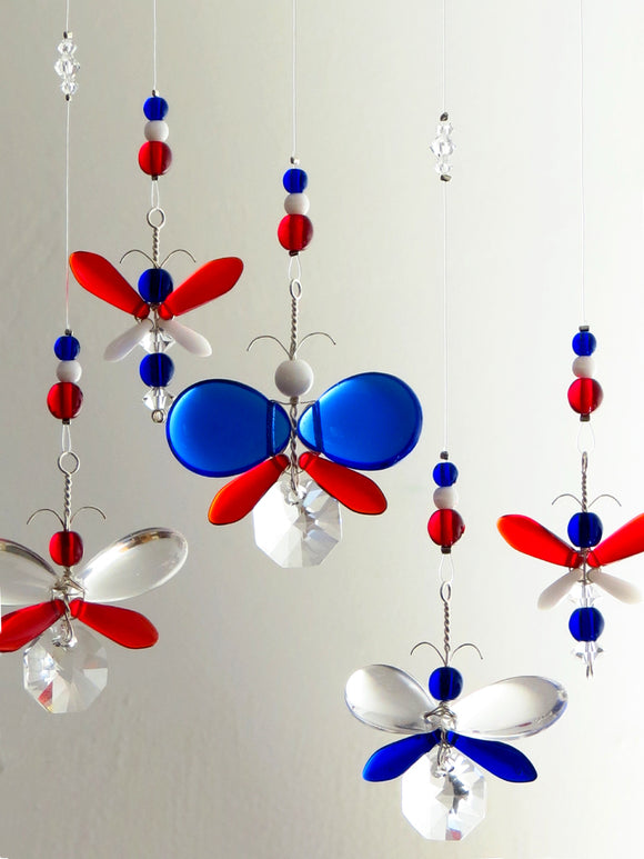 Red, White & Blue Butterfly / Fairy Mobile Suncatcher (6 piece)