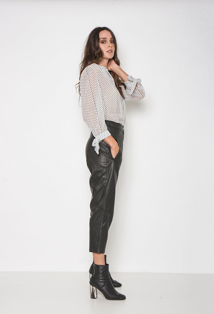 CARLA LEATHER PANT - BLACK - Neon Blonde