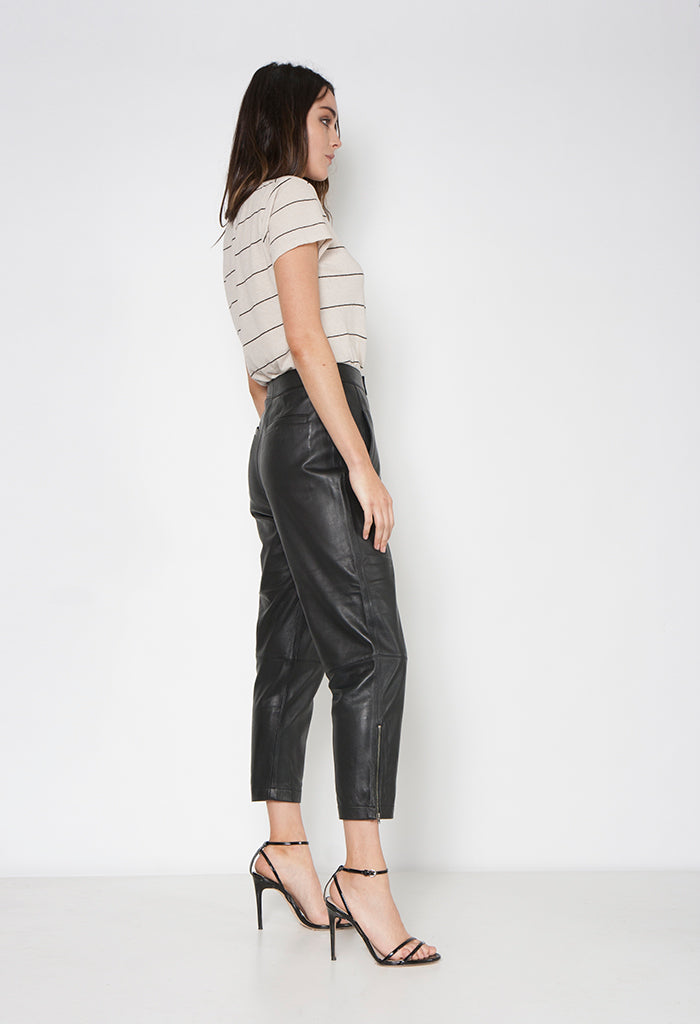 NADIA LEATHER PANT - Neon Blonde