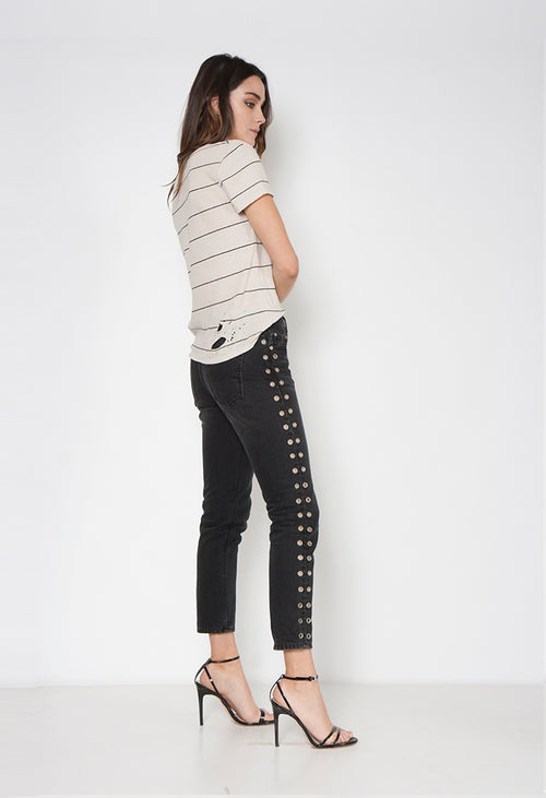 LOVER EYELET JEAN - BLACK DUST - Neon Blonde