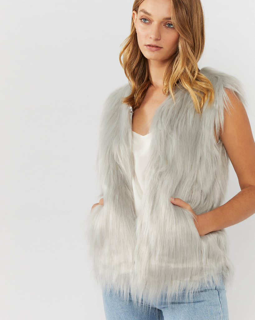 WINDSOR FAUX FUR VEST - LIGHT GREY