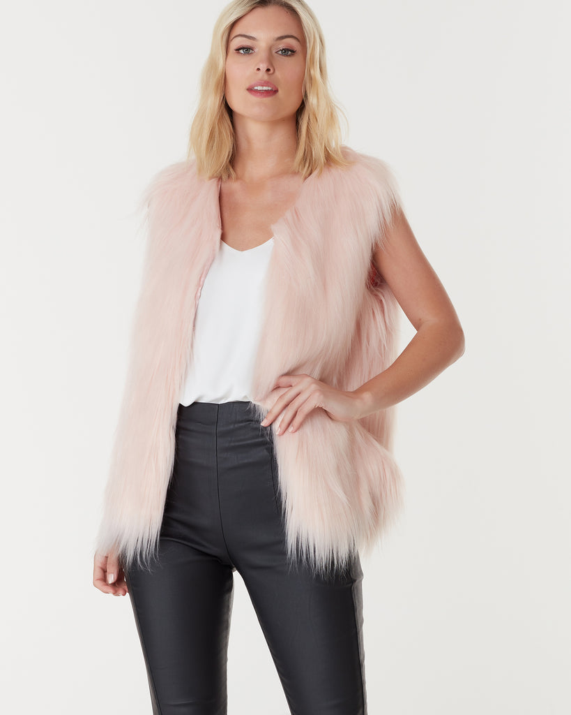 WINDSOR FAUX FUR VEST - SOFT PINK