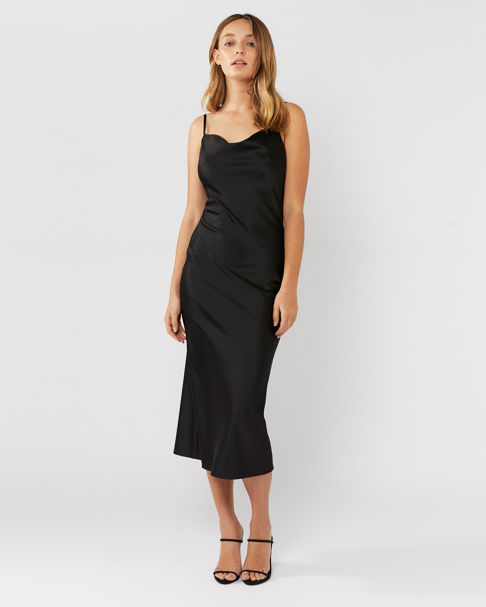 SMALL TALK SLIP DRESS - BLACK