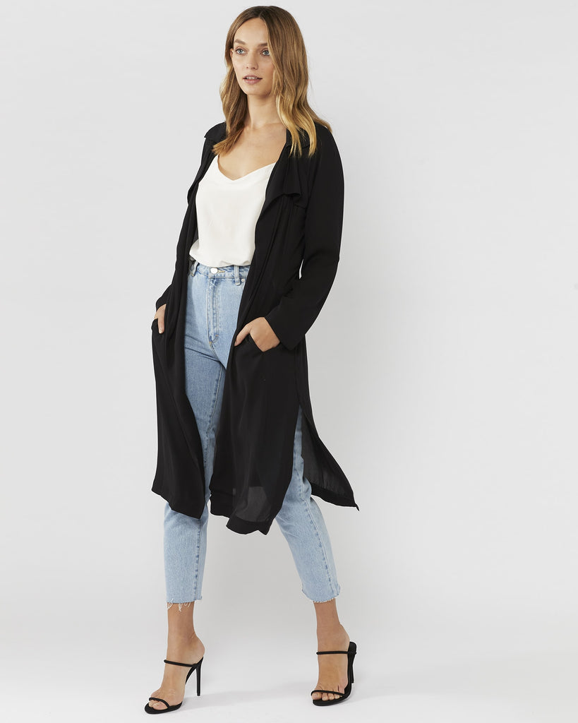 BY YOUR SIDE SHEER TRENCH - BLACK
