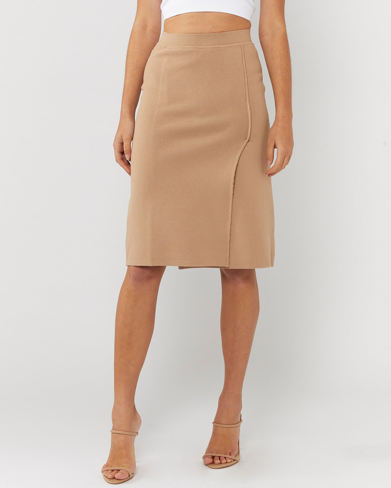 THE OTHER SIDE WRAP SKIRT - LATTE
