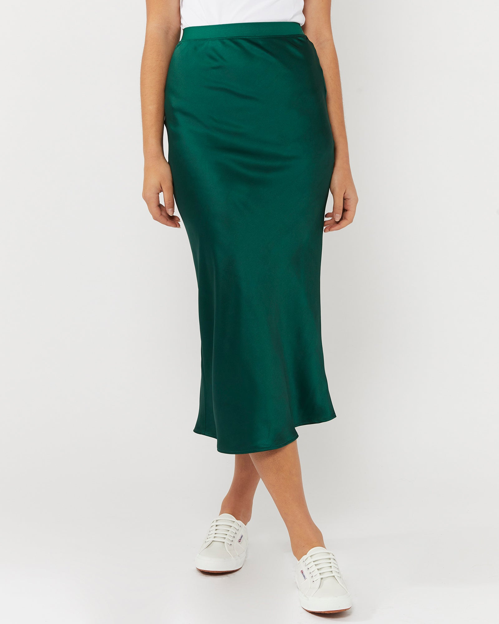 ALL THESE YEARS SATIN SKIRT - FOREST GREEN