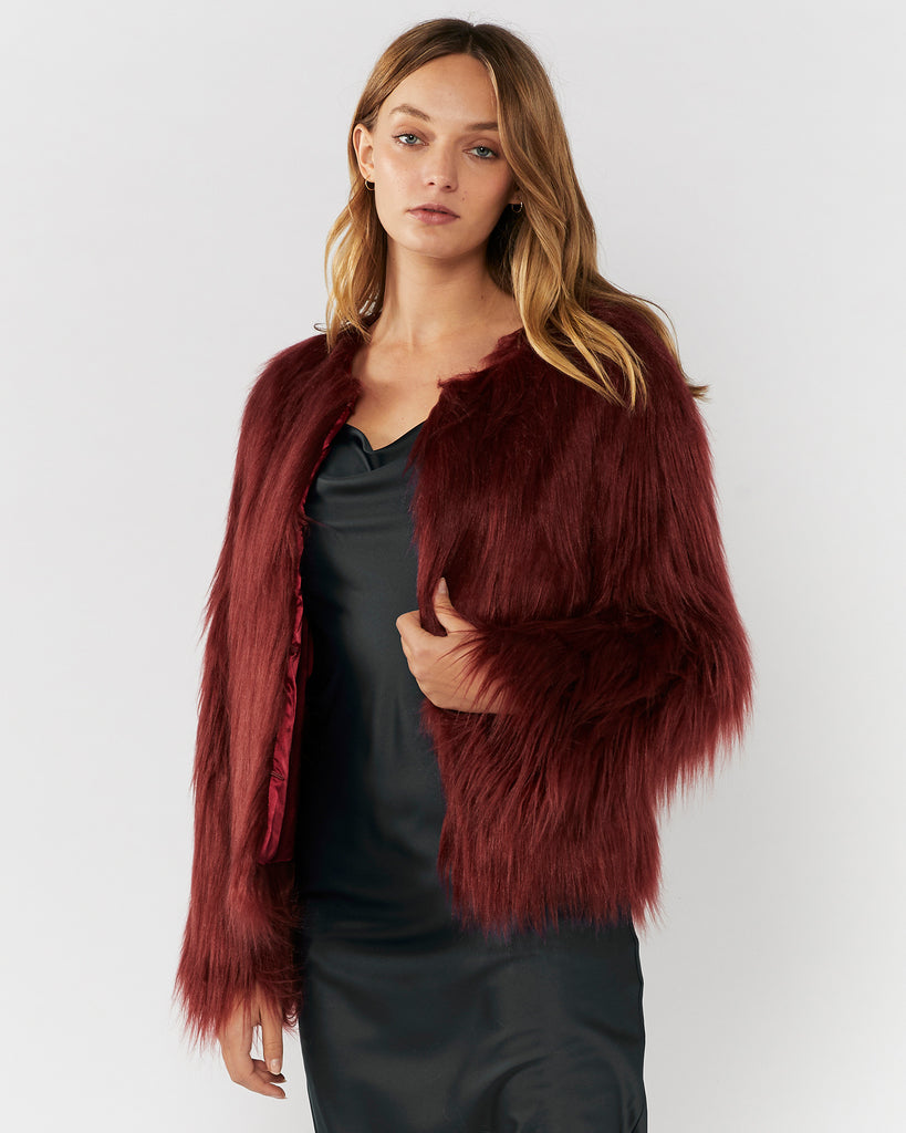 MARMONT FAUX FUR JACKET - WINE