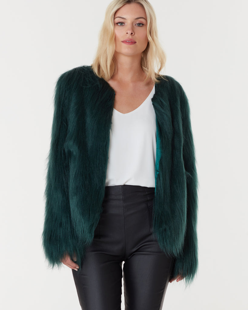 MARMONT FAUX FUR JACKET - FOREST GREEN