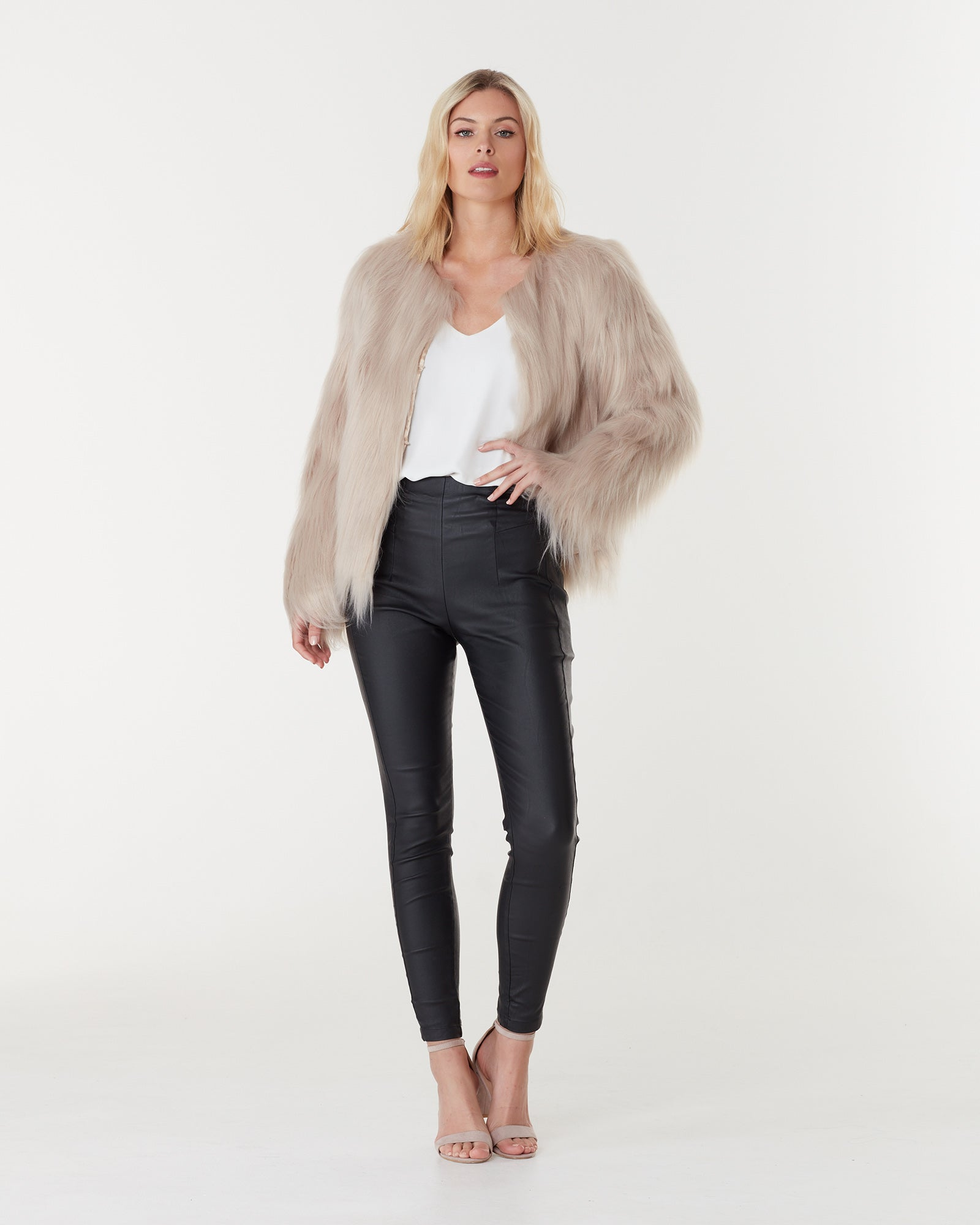 MARMONT FAUX FUR JACKET - LATTE