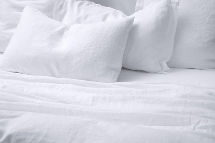 BEMBOKA PURE LINEN DUVET COVER QUEEN - WHITE