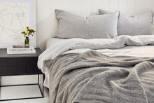 Load image into Gallery viewer, BEMBOKA PURE LINEN DUVET COVER QUEEN - MARBLE GREY