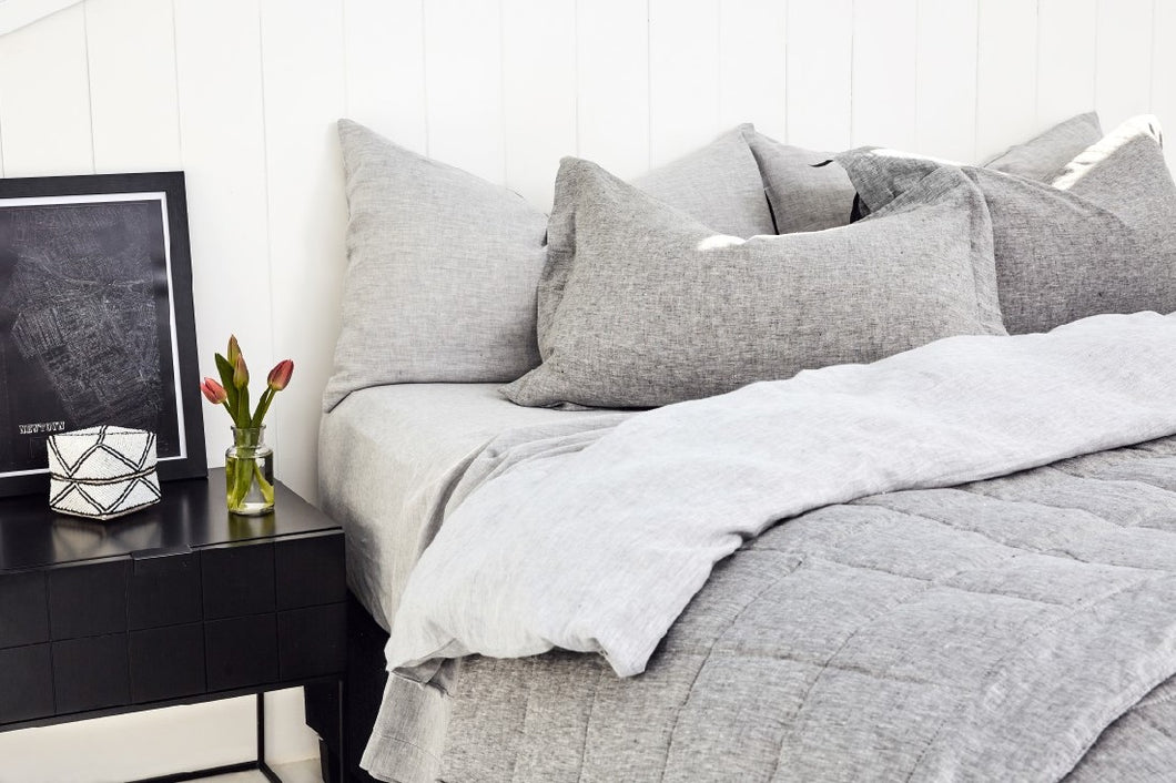 BEMBOKA PURE LINEN FLAT SHEET KING - MARBLE GREY