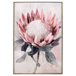 SINGLE KING PROTEA PAINTING 63X93CM