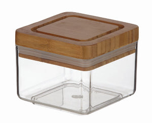 SQUARE ACRYLIC CANNISTER W/BAMBOO LID 600ML