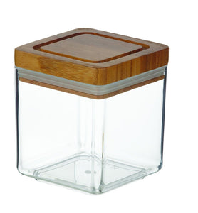 SQUARE ACRYLIC CANNISTER W/BAMBOO LID 1L