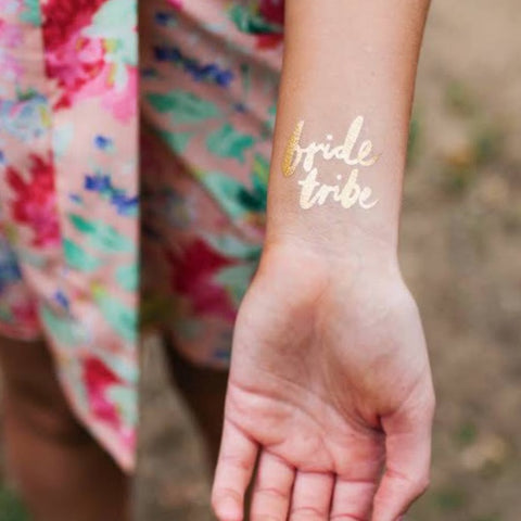 metallic tatts bride tribe THE GLITTER TRIBE hens doo biodegradable glitter boho bride wedding