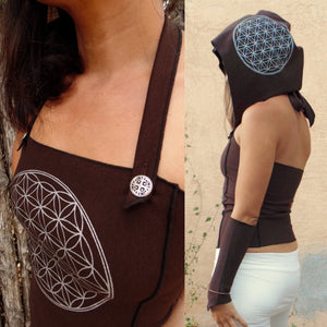 Corvus Corset Top with 3 Flower of Life Screen Prints + Matching Arm Warmers. Versatile halter top | Halter Tops | Made in the USA | AraStarApparel