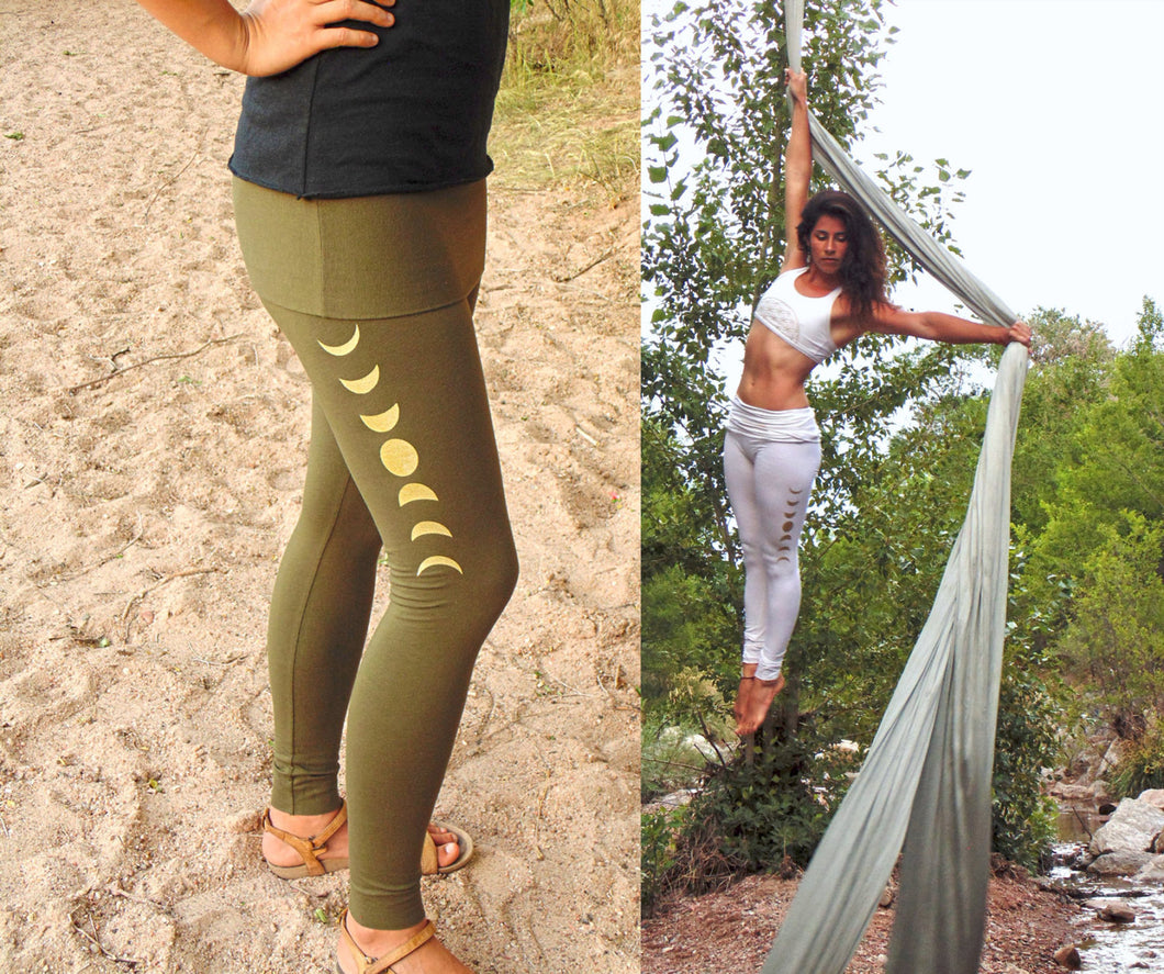 Libra Leggings: Skirted Yoga Pants with Moon Phase Screenprints. Fitted lunar cycle leggings | Leggings | Made in the USA | AraStarApparel
