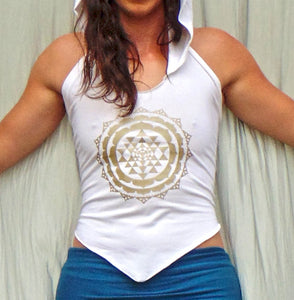 Sri Yantra Hara: Hooded Halter Top with Sri Yantra Lotus Screenprint. Sacred Geometry Backless Hoodie | Halter Tops | Made in the USA | AraStarApparel