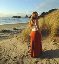 Maxi Skirt: Full Length Organic Cotton Bamboo Maxi Skirt with High Waist. Poncho | Skirts | Made in the USA | AraStarApparel