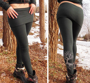 Lyra Leggings: Skirted Yoga Pants with Gold Tree Roots Screen Print. Organic Cotton Blend | Leggings | Made in the USA | AraStarApparel