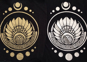 Sew On Screen Print PATCH: DIY Sacred Geometry Large Screenprinted Patches. Flower of Life, Metatron, Moon Phase, Sri Yantra, Yin Yang, Phi