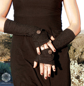 Alpha Arm Warmers with Pockets: Wool Bamboo hand warmers with cute button pockets.