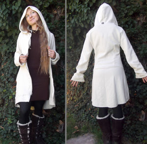 Crescent Moon Coat: Long Zipper Hoodie. Hemp Organic Cotton Fleece