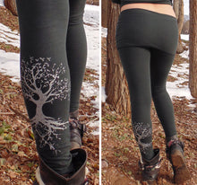 Lyra Leggings: Yoga Pants with Skirt and Silver Tree Roots Screen Print. Skirted Yoga Leggings | Leggings | Made in the USA | AraStarApparel
