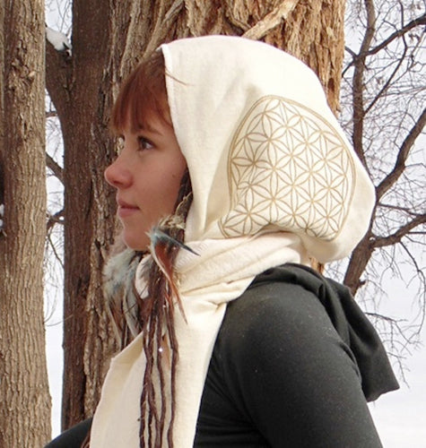Hydra Hood Scarf: Hooded Wrap Scarf with Flower of Life Prints. Hemp Organic Cotton Fleece | Hooded Scarves | Made in the USA | AraStarApparel
