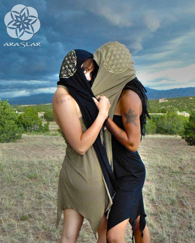 Hydra Hood Scarf: Reversible Organic Cotton Flower of Life Hooded Scarf. Sacred Geometry | Hooded Scarves | Made in the USA | AraStarApparel