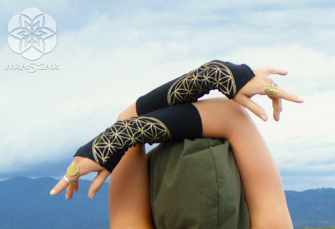 Ara: Flower of Life Arm Warmers. Organic Cotton Wrist Cuffs with Sacred Geometry Screen Prints | Arm Warmers | Made in the USA | AraStarApparel