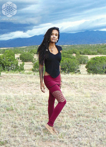 Lyra Leggings: Skirted Yoga pants with Flower of Life Sacred Geometry Screen Print. | Leggings | Made in the USA | AraStarApparel